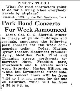 "Washington Post, September 8, 1924: ""Park Band Concerts For Week Announced"""