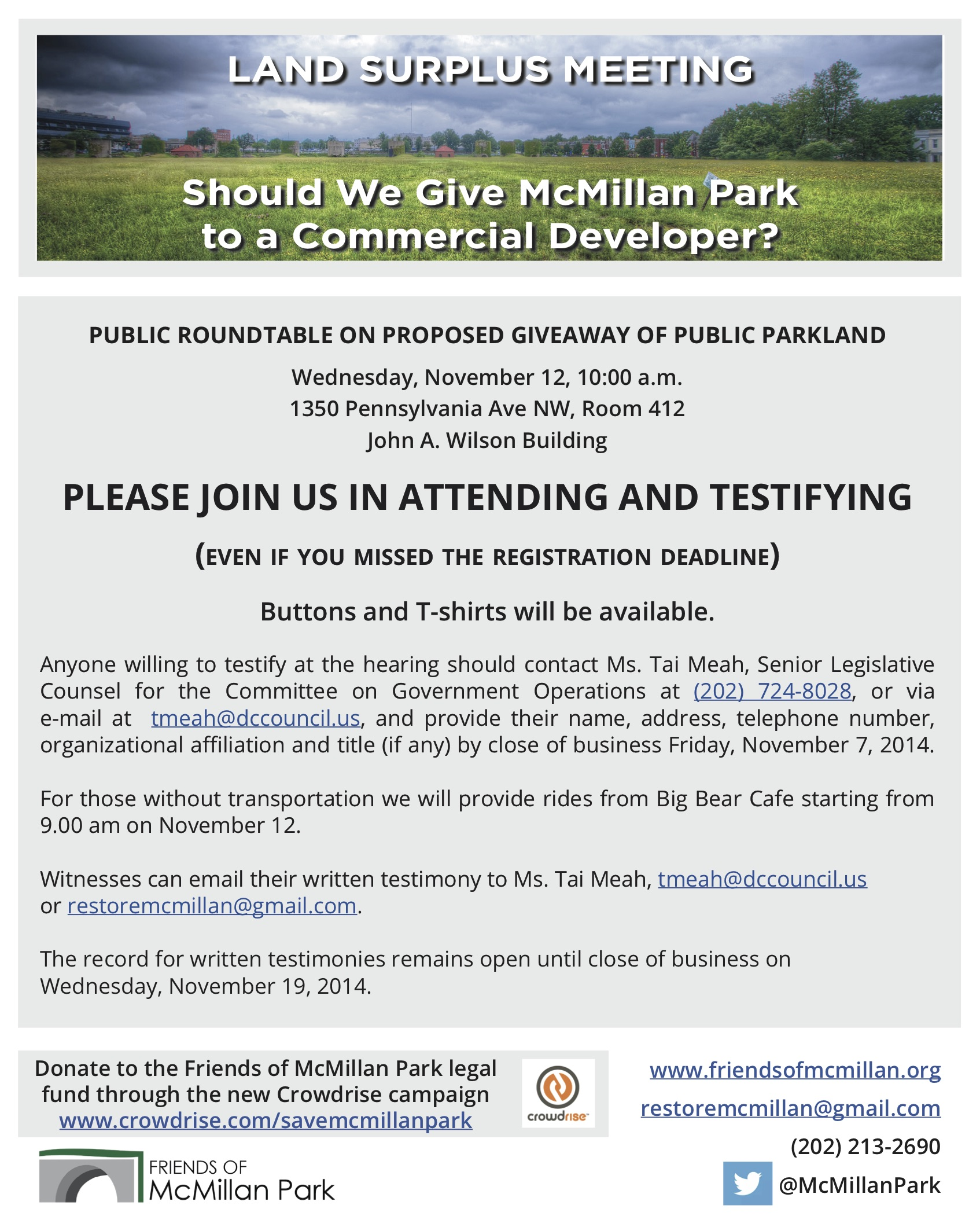 McMillan Park Surplus & Disposition 12Nov2014 Roundtable Flyer